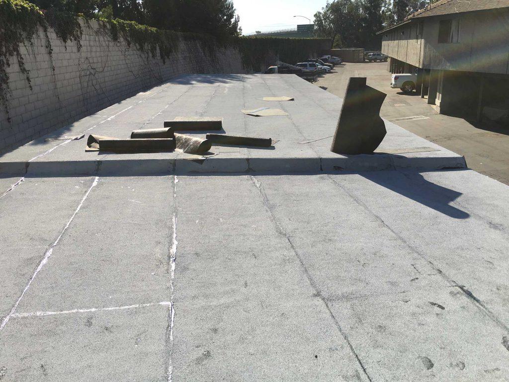 Flat-Hot-Asphalt-Cap-Sheet-Roof-Dry-Rout-Wood-Repair